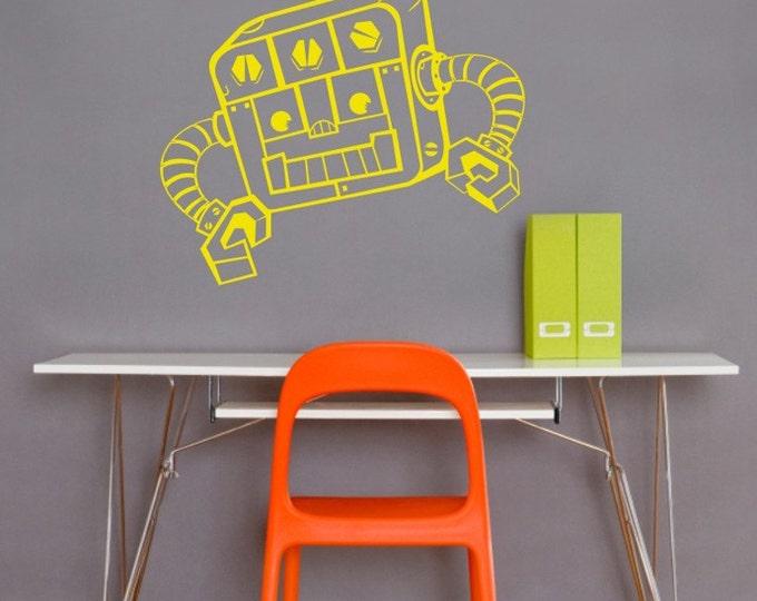 robot wall decal, vinyl walll sticker art- REDDY robot, FREE SHIPPING