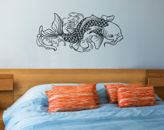 koi fish vinyl wall decal sticker art, japanese, traditional tattoo decal, FREE SHIPPING