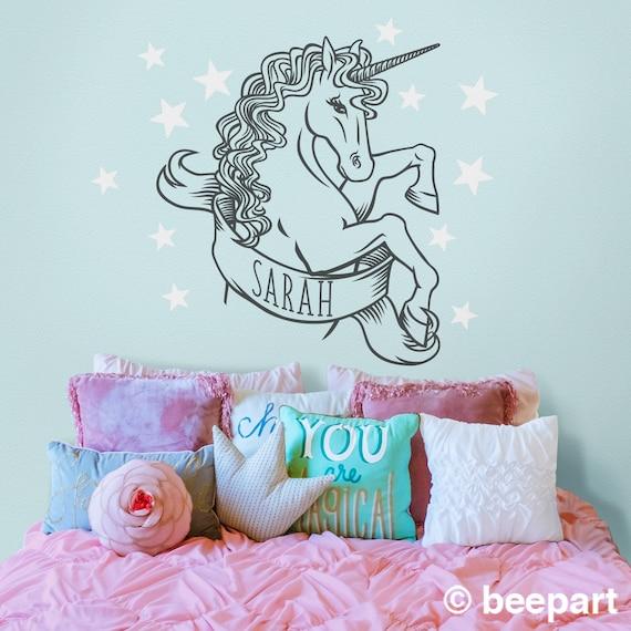 fantasy animal art custom wall decal personalized wall decal Unicorn wall decal- whimsical art girls room decor fantasy art