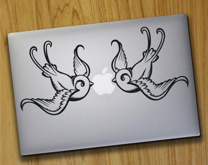 swallow laptop decals, tradtional tattoo laptop sticker art, tattoo bird design, put a bird on it, macbook sticker, mac decal, love birds