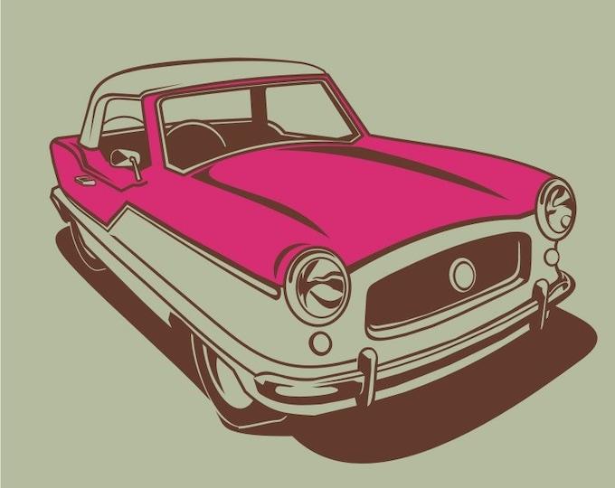 vintage auto wall decal art- nash metropolitan art, mid century car sticker, FREE SHIPPING