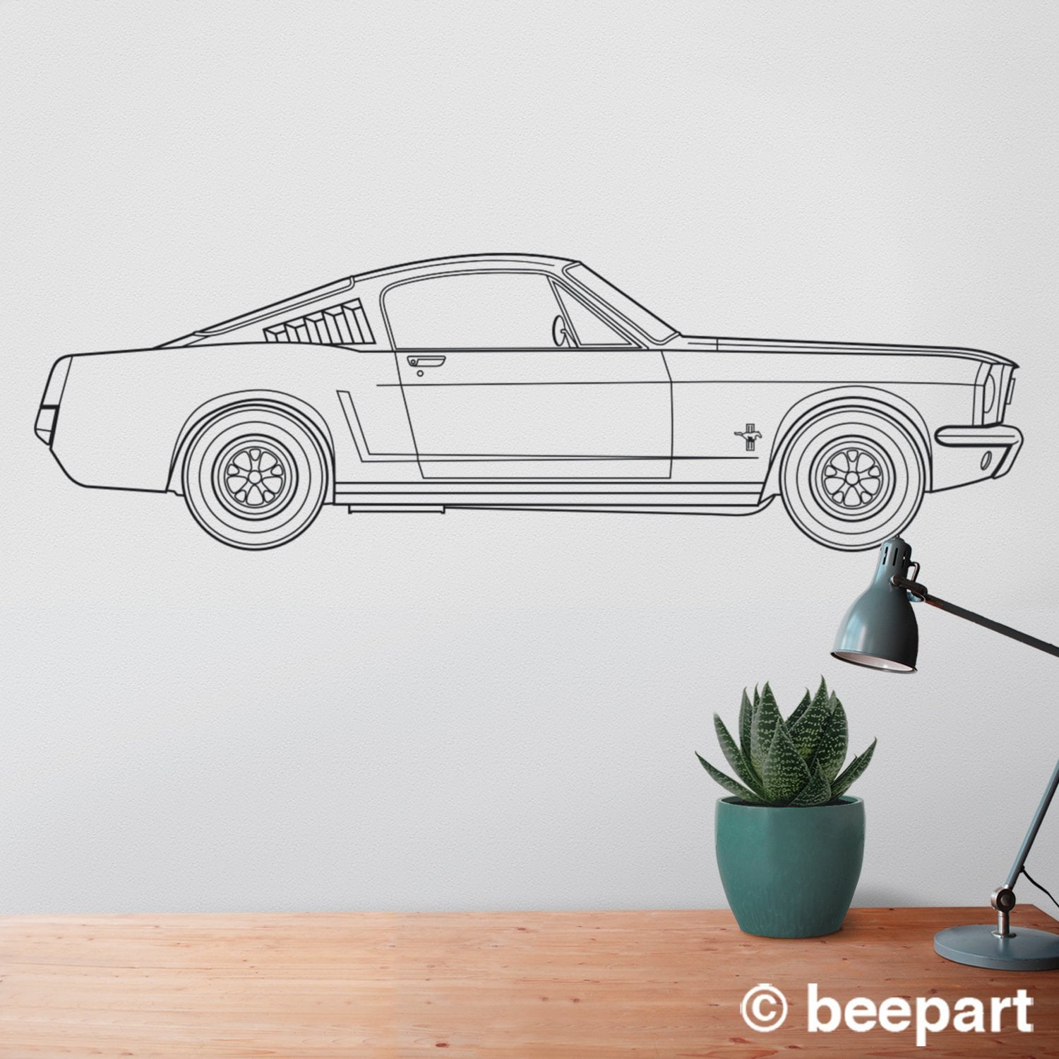 Ford mustang wall decal 65 mustang fastback art pony car art auto blueprint art automobile design muscle car art car lover gift