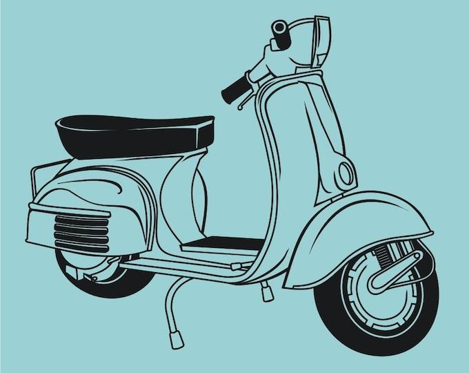 vinyl wall vespa decal art-scooter, retro vespa sticker art, FREE SHIPPING