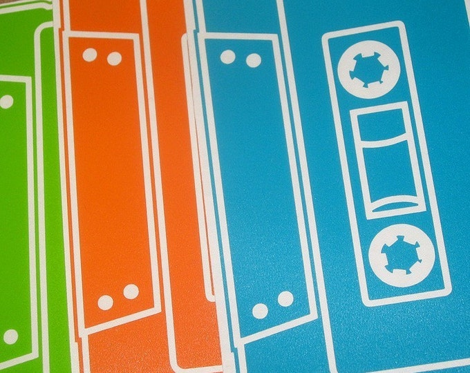 cassette tape vinyl sticker 3-pack, mix-tape decal pack, 80s retro