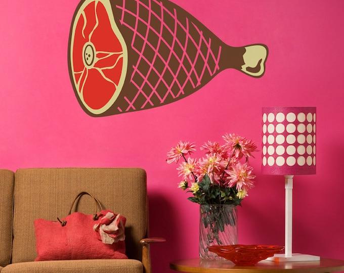 big ham wall decal, meat sticker art, kitsch wall art
