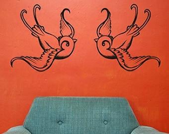 tattoo birds vinyl wall decal sticker art, swallows, traditional tattoo design, FREE SHIPPING