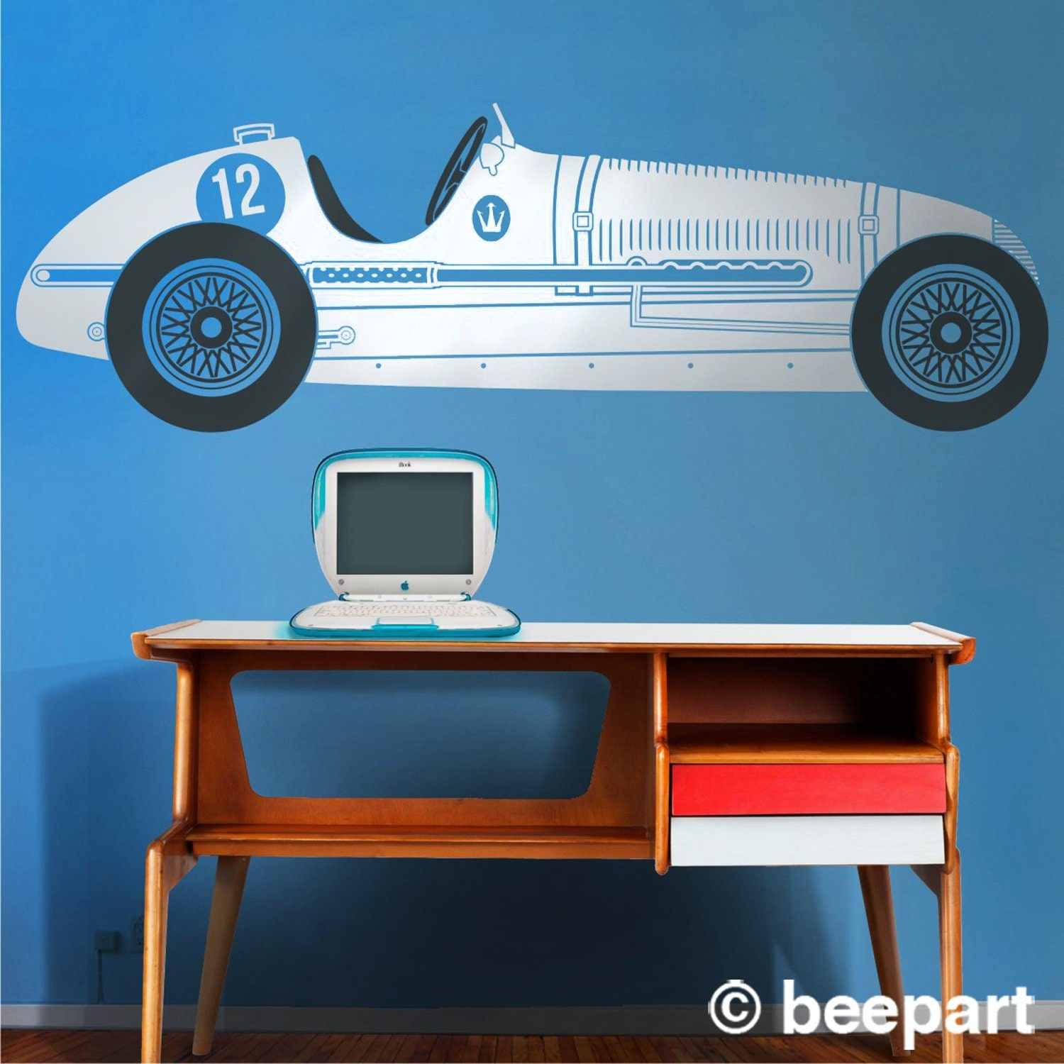 vintage race car wall decal- maserati wall art, car stickers, grand