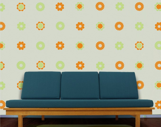 Flower pattern wall decal set, 60s and 70s inspired flower decor, vintage style floral stickers, girls room decor