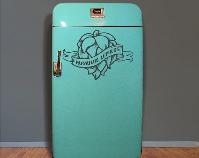 hops craft beer fridge decal, kegerator vinyl sticker, craft beer, hop head, wall decal, FREE SHIPPING