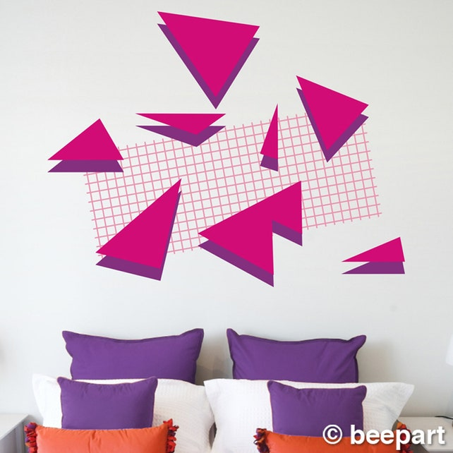 80s retro wall decal set memphis group style 80s art deco   Etsy
