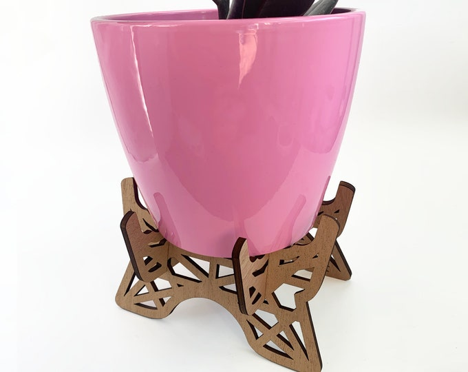 """EIFFEL mahogany plant stand, ornate plant holder, indoor plant stand, for 5-6"""" pot, plant riser, wood plant stand,  house plant"""