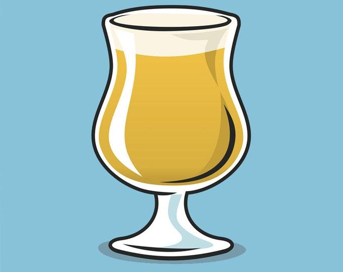 Tulip beer glass clip art- craft beer, beer bar, Belgian beer, menu art, pub art, beer illustration, royalty free clip art, INSTANT DOWNLOAD