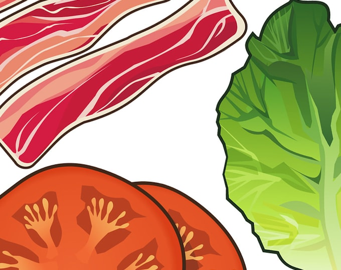 Bacon lettuce tomato clip art- BLT illustration, food and drink, diner, restaurant, menu art, sandwich, royalty free, INSTANT DOWNLOAD