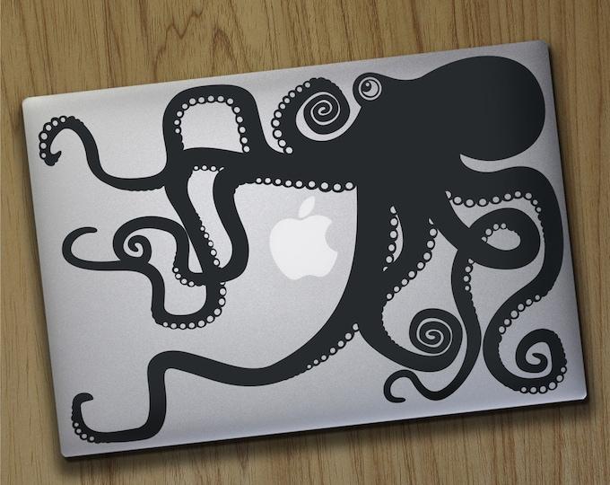 Octopus macbook decal, macbook pro sticker, macbook air decal, tentacles, octopus design, FREE SHIPPING
