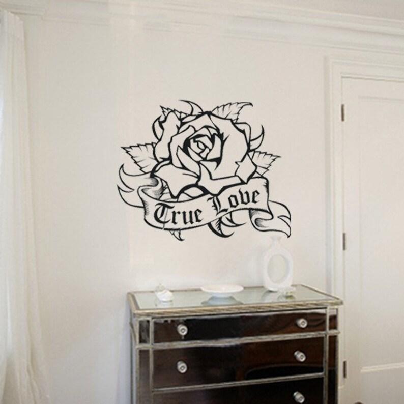 Tatuaggi Da Muro.Rosa Decalcomanie Da Muro L Arte Del Tatuaggio Tradizionale Parete Decal Personalizzate Adesivo Personalizzato Arte Decal Fiore Spedizione