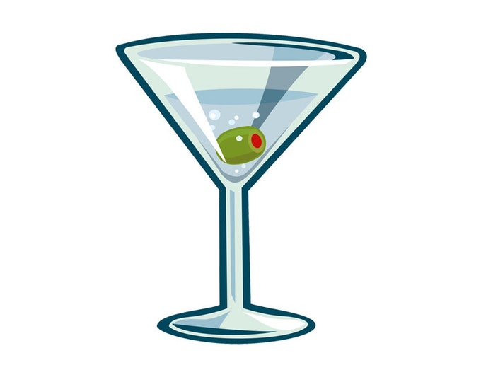 Martini clip art- cocktail glass illustration, gin, vermouth, bar art, night club, food and drink, royalty free, INSTANT DOWNLOAD