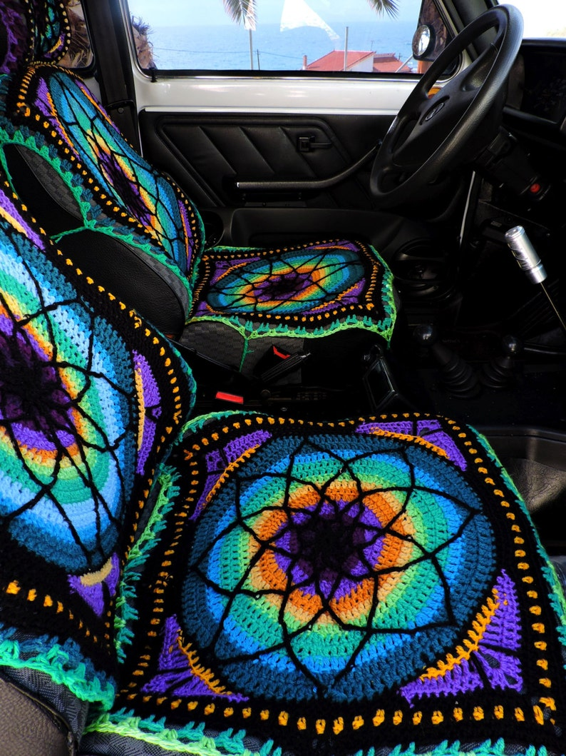Vibrant Crochet Car Seat Cover Front Only Etsy