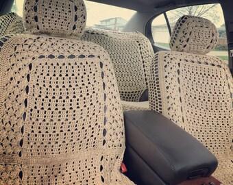 Boho crochet seat covers