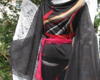 Plus grande robe formelle robe manches cloche pure maxi robe soirée Cocktail robe de bal, formelle robe noir avec manches papillon pure