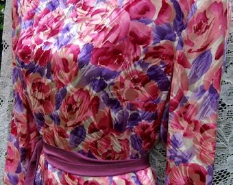 80 s robe de bal, robe de soie Peplum broche en strass taille 12, robe en soie vintage des années 1980, Rose et Lilas mauve, robe soirée Cocktail