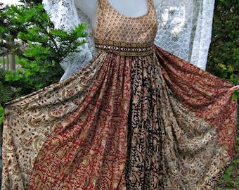 Cotton indian dress, Halter dress, smock dress, babydoll wide circle skirt dress, Cotton gauze Indian dress, festival dress in earth tones
