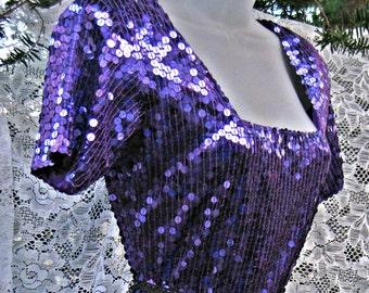80 s robe de bal, robe pailletée violette plus petite, LOW CUT plonger avant des années 80 sequin robe, robe de soirée Cocktail, robe à paillettes violet