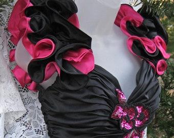 80 s robe de bal, robe formelle à paillettes des années 1980, robe de soirée Cocktail, robe perlée noire, robe pailletée, par Alyce Designs