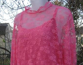 GRAND bal des années 1980 robe dentelle rose framboise, robe printemps été maxi, des années 80, robe de bal des années 80 robe de bal, robe de dentelle rose