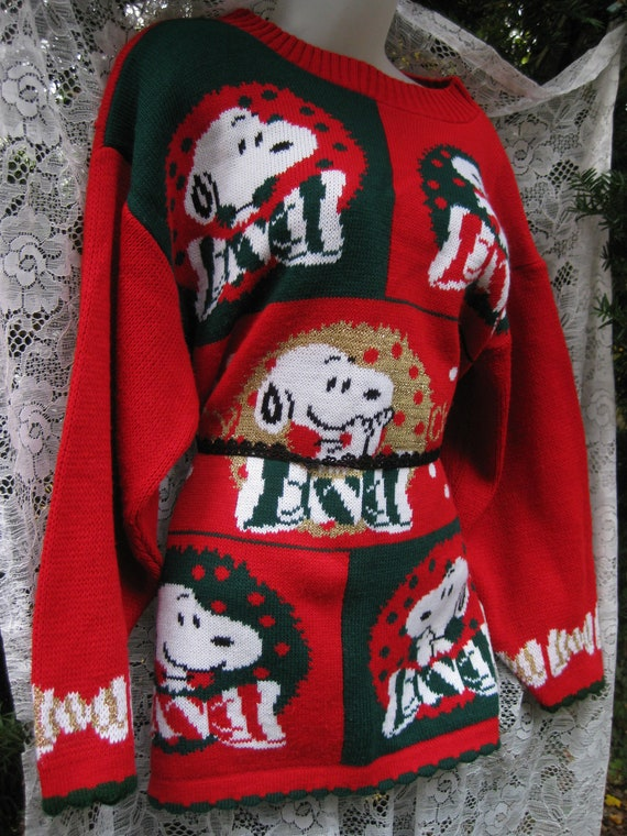 Larger SNOOPY in Wreaths PEANUTS New Years sweater
