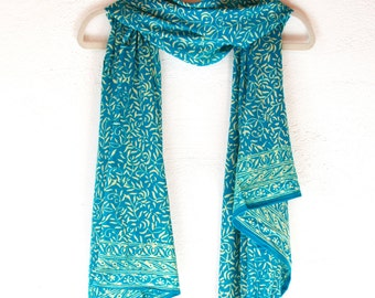 Teal Scarf Blue Chiffon Scarf - Women's Spring Fashion Accessory - Soft Blue Scarf - Batik Sarong Pareo - Short Beach Sarong - Gift for Her