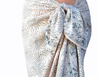 White Beach Sarong Wrap Skirt Women's or Men's Batik Pareo Batik Sarong Wrap Skirt or Dress ~ Rosey White & Gray Sea Anemone Beach Cover Up
