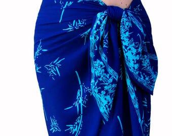 Bamboo Beach Sarong Pareo Long Wrap Skirt - Cobalt Blue & Turquoise Beach Sarong - Batik Pareo - Men's or Women's Clothing Swimsuit Cover Up