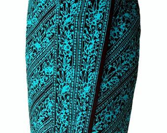 Beach Sarong Wrap Skirt Swimsuit Cover Up Womens or Mens Beach Clothing ~ Lavalava Elegant Resort Wear Swimwear ~ Black & Teal Batik Pareo