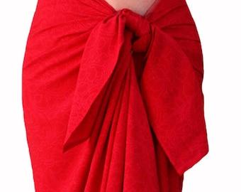 Red Batik Sarong Pareo Beach Sarong - Batik Pareo - Women's Clothing Red Sarong Wrap Skirt - Beach Cover Up - Elegant Beachwear