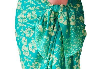 Hawaiian Beach Sarong Skirt Womens Clothing - Beach Cover Up Batik Pareo Aqua & Cream Flowers Sarong Pareo Wrap Skirt - Hibiscus Aloha Wear