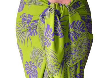 Hawaiian Beach Sarong Mens or Womens Clothing - Batik Pareo - Jungle Leaf Lavalava Surf Clothes - Lime Green & Purple Beach Coverup Spa Wrap