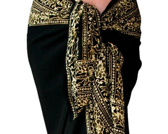 9ca185798218c PLUS SIZE Women s Clothing Wrap Skirt or Dress - Extra Long Black Beach  Sarong Cover Up Plus Size Swimwear - Batik Pareo - Plus Size Skirt