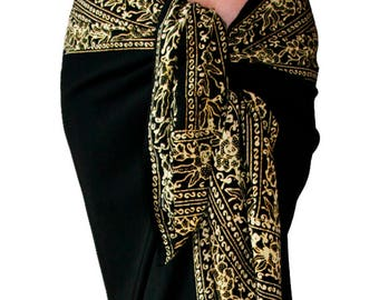 Black Beach Sarong Wrap Skirt or Dress Women's Clothing Black & Creamy White Sarong Skirt - Beach Cover Up - Batik Pareo - Black Sarong