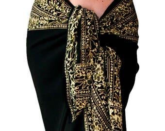 Black Beach Sarong Wrap Skirt or Dress - Swimsuit Cover up - Batik Pareo - Black Sarong  - Womens Swimwear - Batik Sarong Skirt Resort Wear