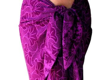 Beach Sarong Pareo Magenta Gingko Sarong Skirt or Dress Women's Beach CoverUp - Purple Batik Sarong Beach Wrap Skirt - Womens Swimwear
