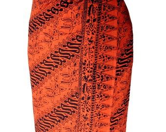 Men's Beach Sarong Tribal Spirit - Festival Clothes Sarong Wrap - Batik Pareo Burnt Orange & Brown Lavalava Beach Swimwear - Burning Man