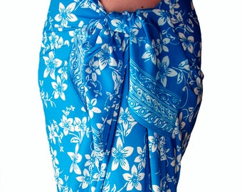 Plumeria Beach Sarong Skirt Batik Pareo Women's Clothing Wrap Skirt Beach Skirt or Dress Batik Sarong Cover Up - Blue & White Beach Wedding