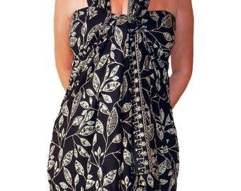 PLUS SIZE Women's Clothing Sarong Wrap Skirt or Dress - Black & Creamy White Beach Sarong - Hawaiian Maile Leaves Batik Pareo Plus Swimwear