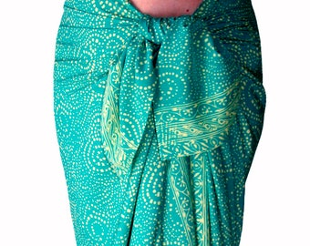 Beach Sarong Wrap Womens Clothing Batik Sarong Wrap Skirt Swimsuit Coverup Aqua & Cream Starry Nite Lavalava Beachwear - Green Batik Pareo