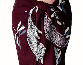 Dragonfly Beach Sarong Skirt Burgundy Batik Sarong Women's Clothing Beach Cover up - Sarong Pareo Wrap Skirt - Batik Pareo - Dragonfly Skirt