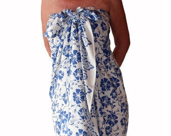 Hawaiian Beach Sarong Dress or Skirt - Womens Clothing Swimsuit Cover Up- Blue Hawaiian Hibiscus - White Beach Sarong Batik Pareo Beachwear