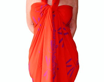 f2db0bab4b954 PLUS SIZE Clothing Dragonfly Sarong Dress or Skirt Women s Plus Size  Clothing Beach Sarong Extra Long Beach Cover Up Orange   Purple Pareo