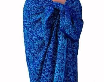 Batik Sarong Women's Clothing - Beach Sarong Wrap Skirt Batik Pareo Swimsuit Cover Up Long Sarong Wrap - Beachwear - Sarong Skirt or Dress