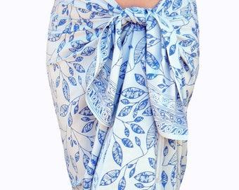 White Beach Sarong Pareo Wrap Skirt - Batik Pareo - Beach Wedding Dress - Batik Sarong - Beach Cover up - Hawaiian Maile Leaf Sarong