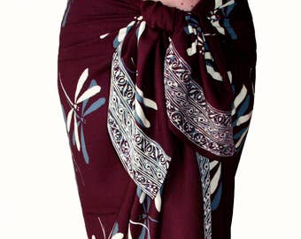Dragonfly Beach Sarong Wrap Skirt - Burgundy Dragonfly Sarong Cover Up - Batik Pareo - Womens or Mens Clothing for After Swim & Surf Wrap
